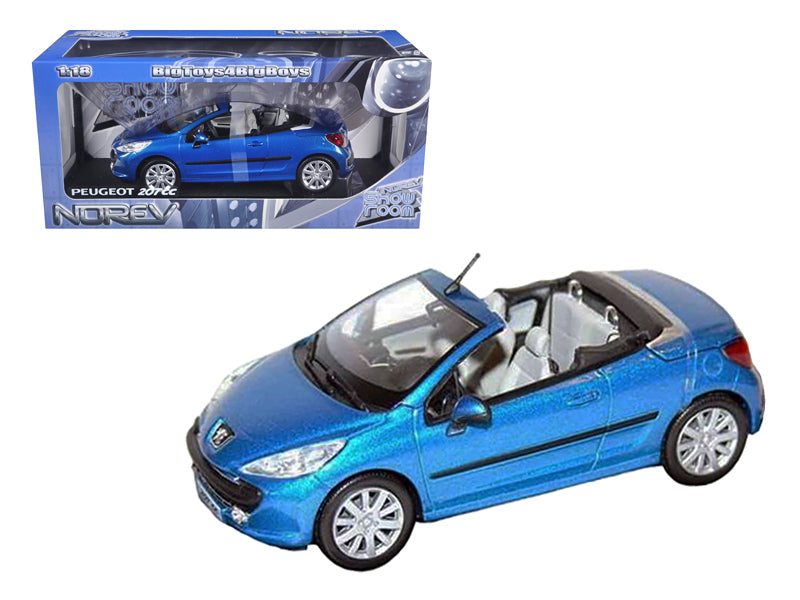 Peugeot 207CC Convertible Blue 1/18 Diecast Car Model by Norev - BeTovi&co