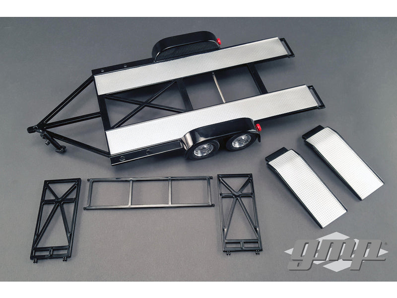Tandem Car Trailer with Tire Rack Black 1/18 Diecast Model by GMP - BeTovi&co