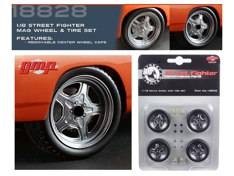 Wheel and Tire Set of 4 from 1970 Plymouth Road Runner 'The Hammer' Furious 7 Movie 1/18 by GMP - BeTovi&co