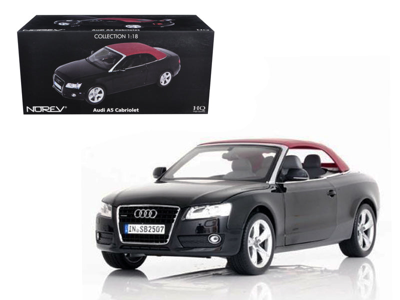 2009 Audi A5 Convertible Brilliant Black 1/18 Diecast Model Car by Norev - BeTovi&co