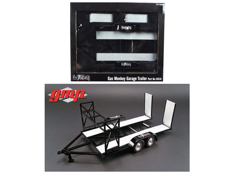 Tandem Car Trailer with Tire Rack Gas Monkey Garage 1/18 Diecast Model by GMP - BeTovi&co