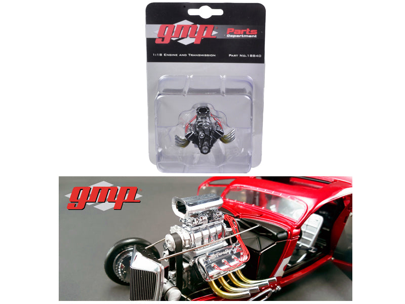 1934 Blown 426 Nitro Coupe Drag Engine and Transmission Replica 1/18 by GMP - BeTovi&co