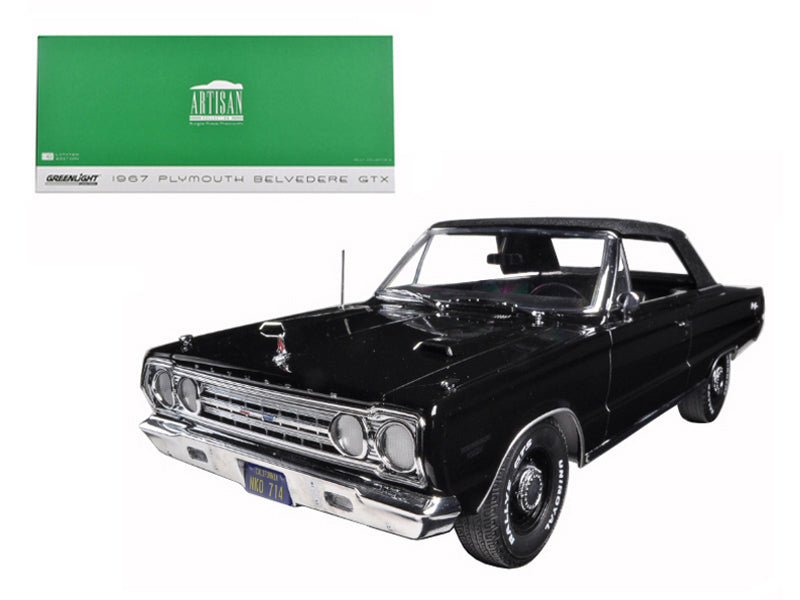 1967 Plymouth Belvedere GTX Convertible Black 1/18 Diecast Model Car by Greenlight - BeTovi&co