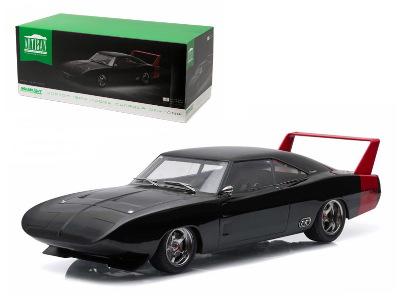 1969 Dodge Charger Daytona Custom Black with Red Rear Wing 1/18 Diecast Model Car by Greenlight - BeTovi&co