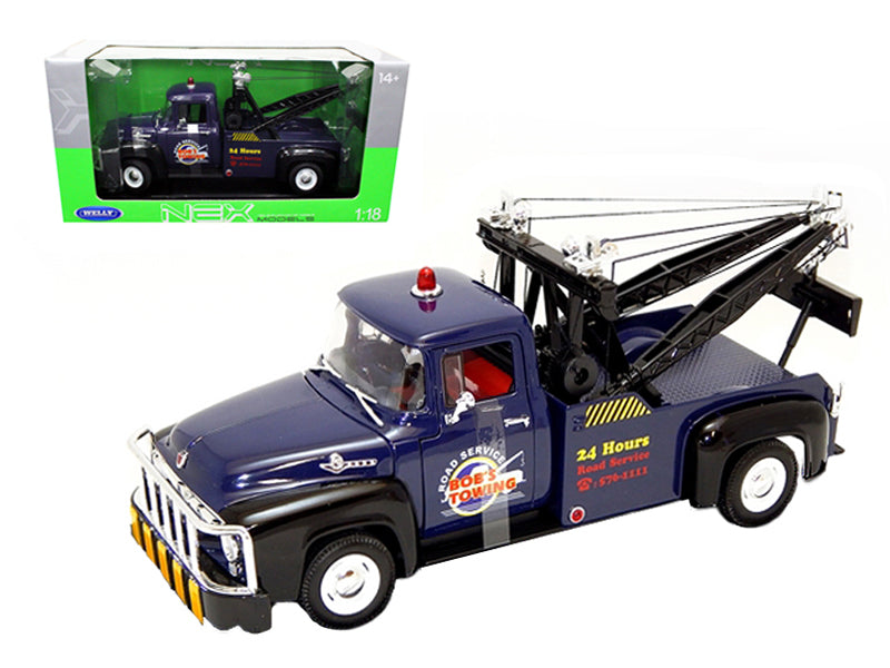1956 Ford F-100 Tow Truck Bob - BeTovi&cos Towing Blue 1/18 Diecast Car Model by Welly - BeTovi&co