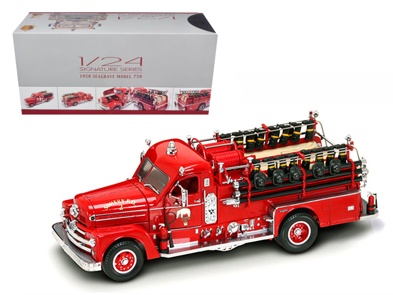 1958 Seagrave 750 Fire Engine Truck Red with Accessories 1/24 Diecast Model by Road Signature - BeTovi&co