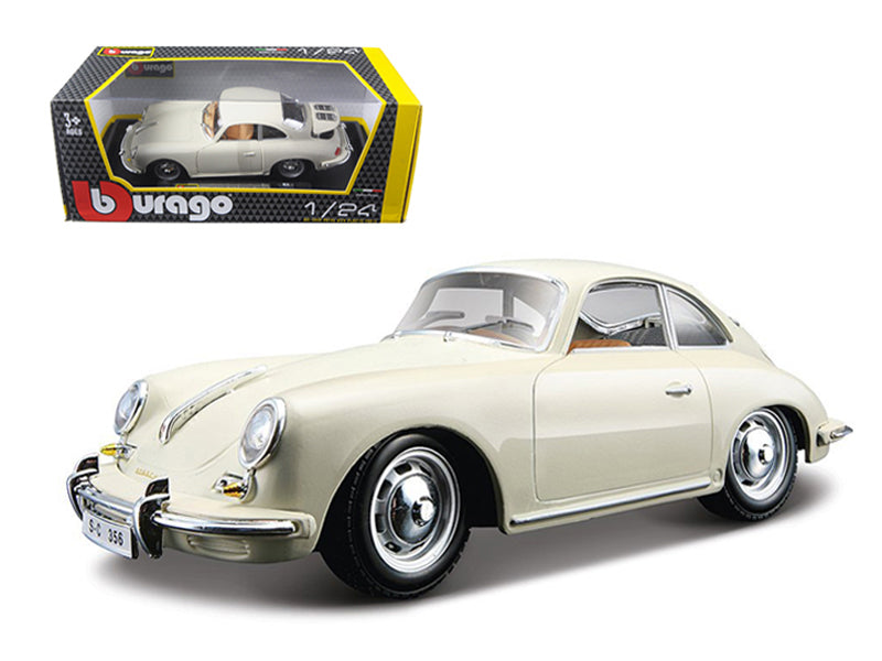 1961 Porsche 356 B Coupe Ivory / White 1/24 Diecast Model Car by Bburago - BeTovi&co