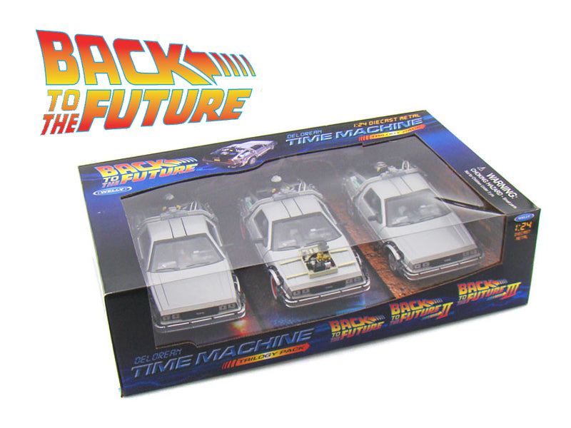 Back To The Future 1, 2, 3 Trilogy Delorean Time Machine Set 1/24 Diecast Car Models by Welly - BeTovi&co