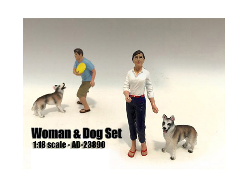 Woman and Dog 2 Piece Figure Set For 1:18 Scale Models by American Diorama - BeTovi&co