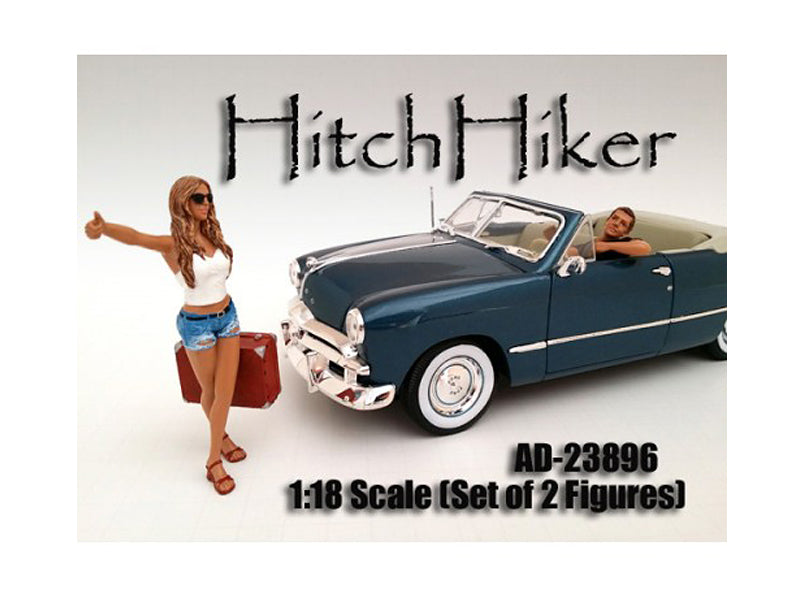 Hitchhiker 2 Piece Figure Set For 1:18 Scale Model Cars by American Diorama - BeTovi&co