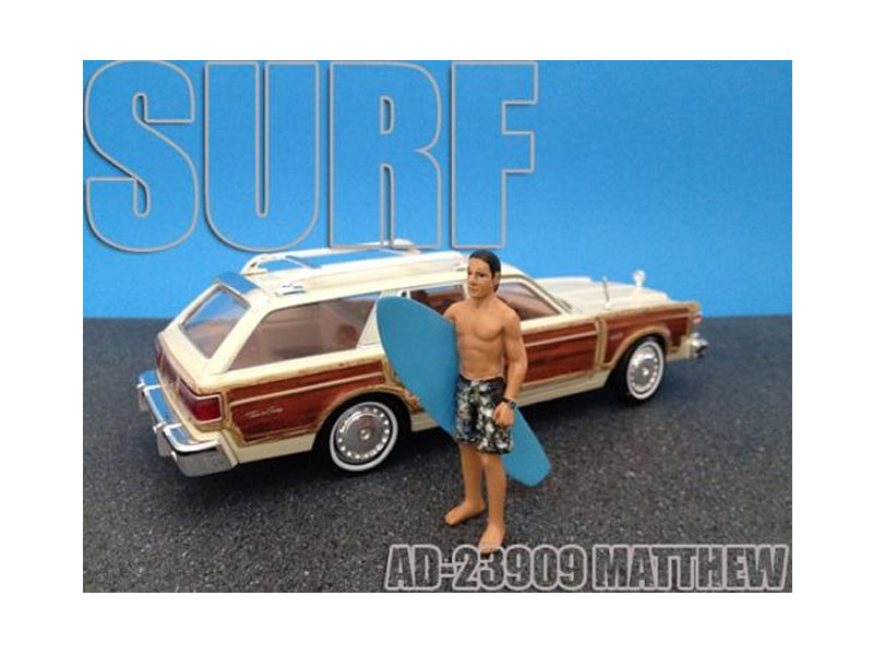 Surfer Matthew Figure For 1:24 Diecast Model Cars by American Diorama - BeTovi&co