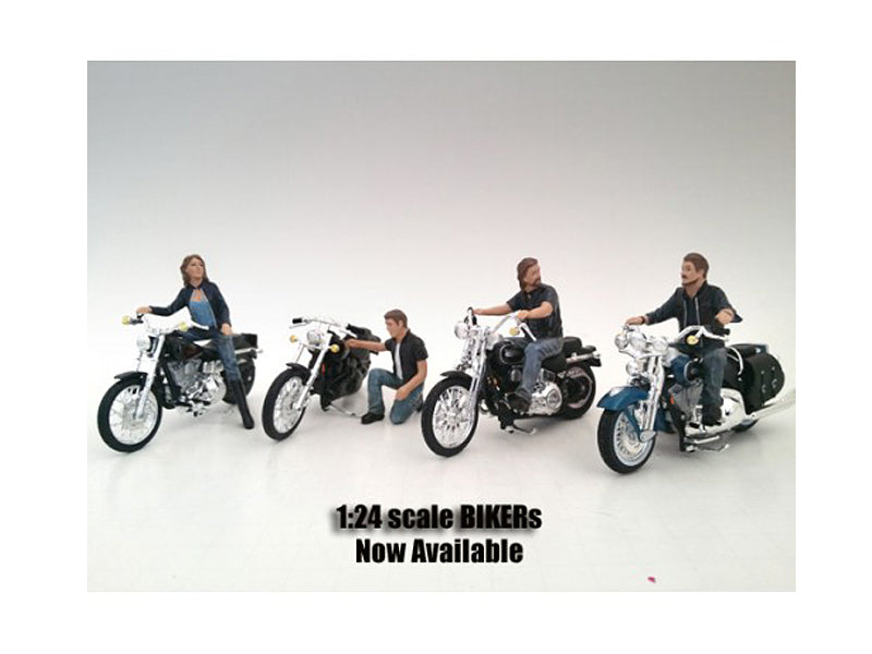 'Bikers' 4 Piece Figure Set For 1:24 Scale Models by American Diorama - BeTovi&co