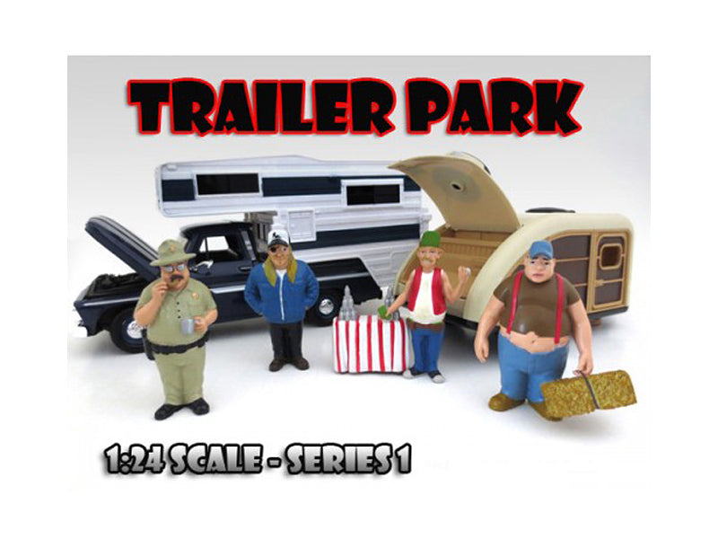 'Trailer Park' Figure Set of 4 Pieces For 1:24 Scale Diecast Model Cars by American Diorama - BeTovi&co
