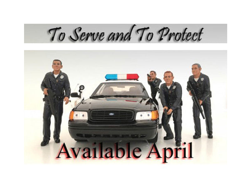 Police Officers 4 Piece Figure Set For 1:18 Scale Models by American Diorama - BeTovi&co
