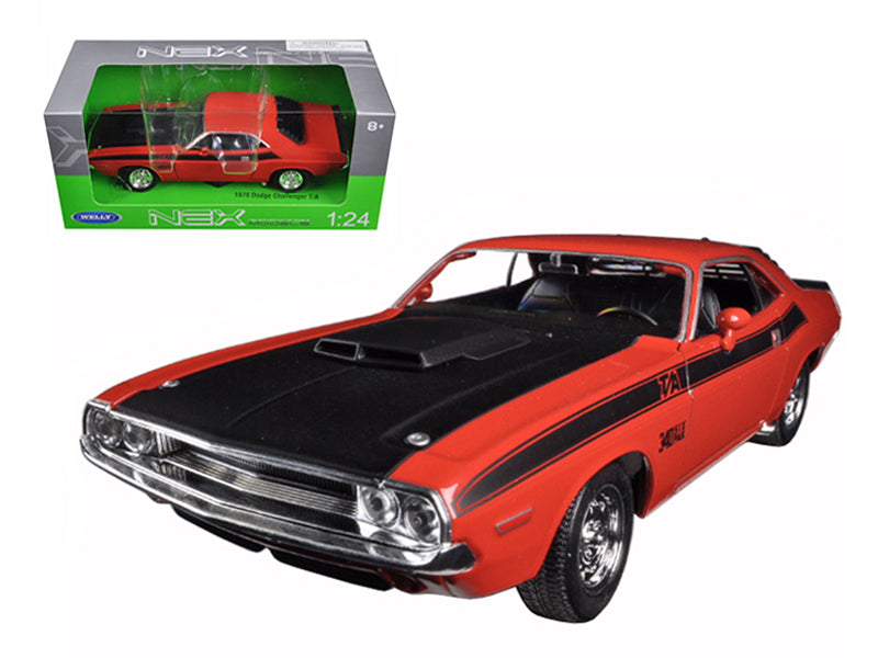 1970 Dodge Challenger T/A Orange 1/24 Diecast Model Car by Welly - BeTovi&co