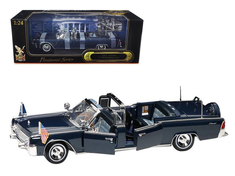 1961 Lincoln X-100 Kennedy Limousine Blue with Flags 1/24 Diecast Model Car by Road Signature - BeTovi&co