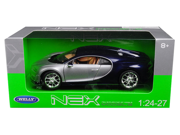 Bugatti Chiron Silver / Blue 1/24 - 1/27 Diecast Model Car by Welly