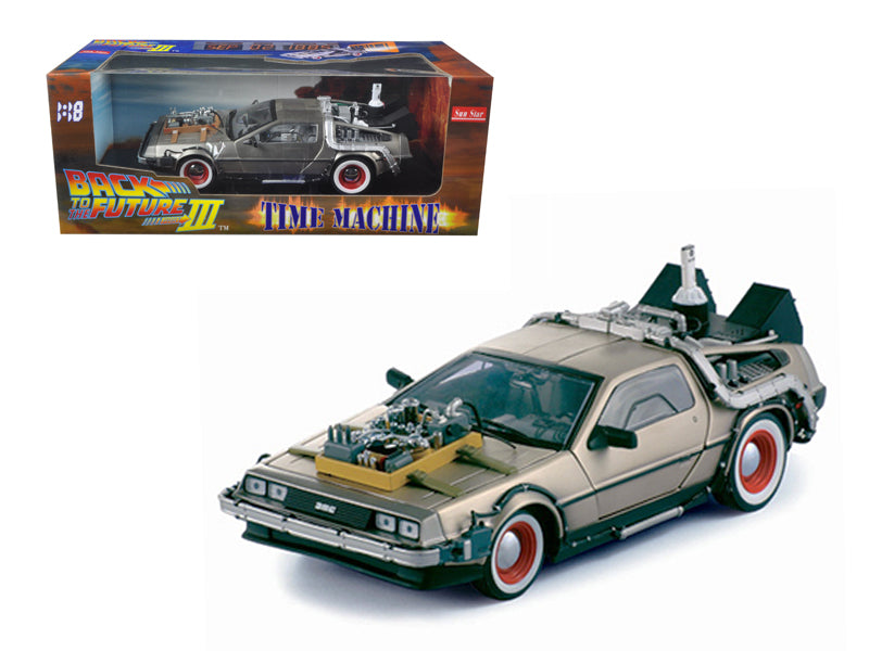 "Delorean Time Machine From \Back To The Future III"" Movie 1/18 Diecast Model Car by Sunstar"" - BeTovi&co"