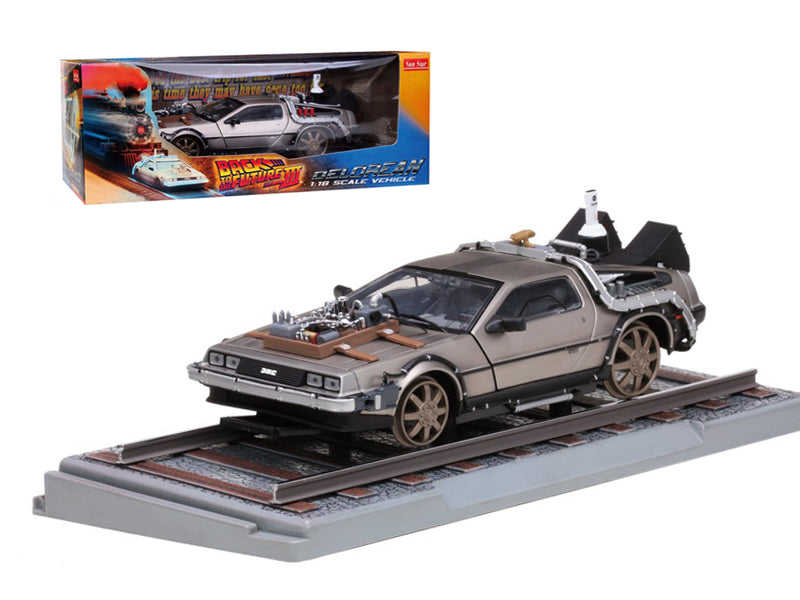 "Delorean From Movie \Back To The Future 3"" Railroad Time Machine 1/18 Diecast Model Car by Sunstar"" - BeTovi&co"
