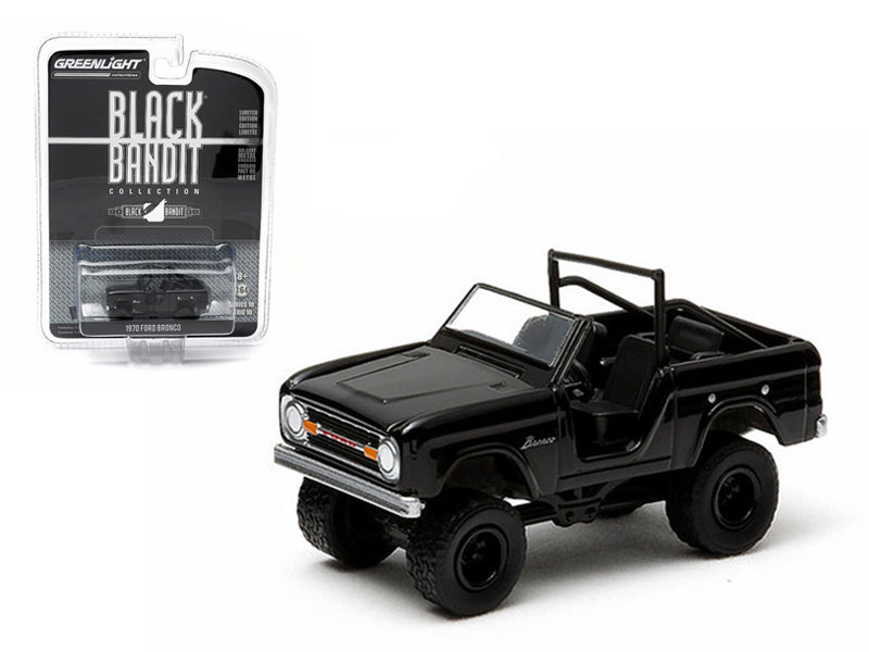 1970 Ford Bronco 4x4 Black Bandit 1/64 Diecast Model Car by Greenlight - BeTovi&co