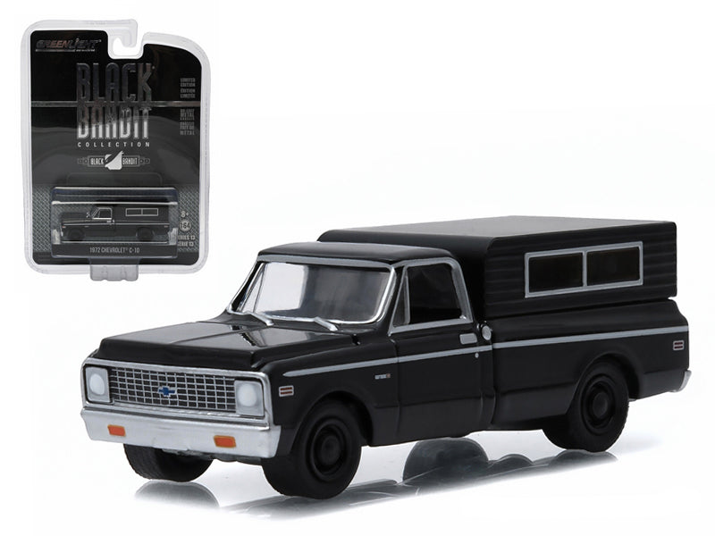 1972 Chevrolet C-10 Pickup Truck Black Bandit 1/64 Diecast Car Model by Greenlight - BeTovi&co