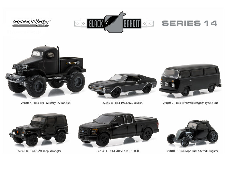 Black Bandit Series 14, 6pc set 1/64 Diecast Model Cars by Greenlight - BeTovi&co