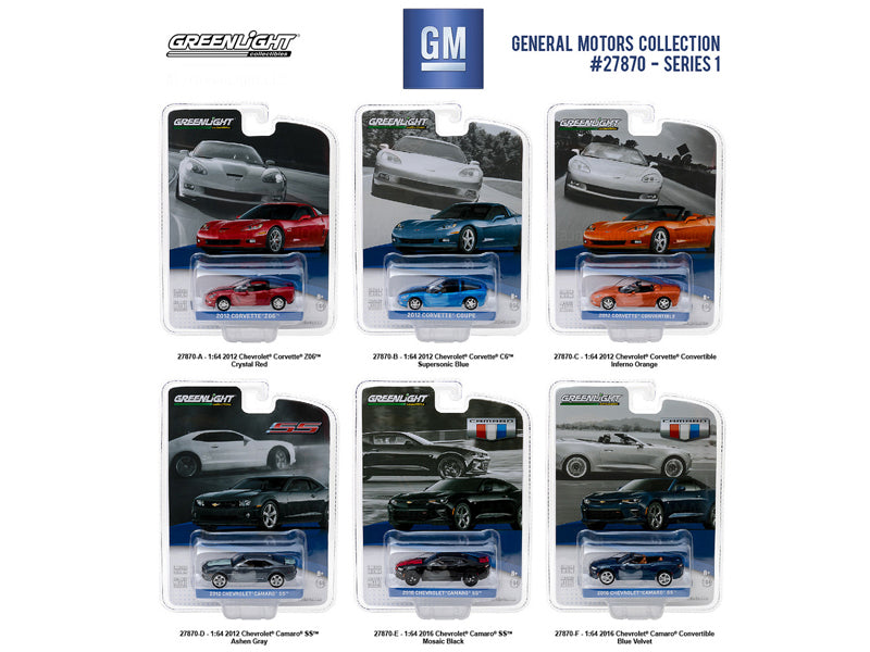 General Motors Collection Series 1, 6pc Set  1/64 Diecast Model Cars by Greenlight - BeTovi&co
