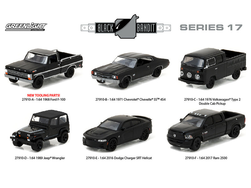 Black Bandit Series 17, 6pc set 1/64 Diecast Model Cars by Greenlight - BeTovi&co