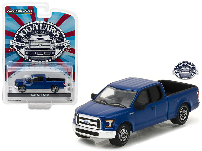2016 Ford F-150 Pickup Truck Blue Ford Trucks 100 Years Anniversary Collection Series 5 1/64 Diecast Model Car by Greenlight - BeTovi&co
