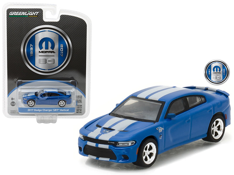 2017 Dodge Charger SRT Hellcat Blue MOPAR 80 Years Anniversary Collection Series 5 1/64 Diecast Model Car by Greenlight - BeTovi&co