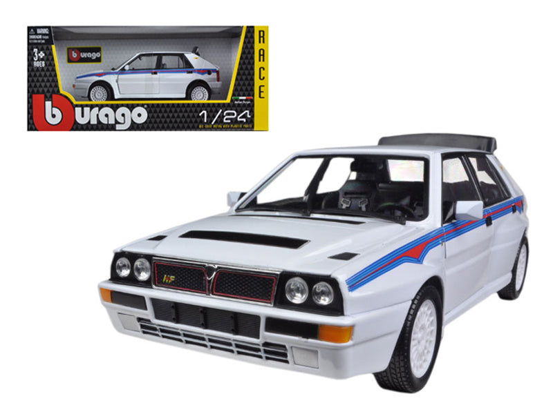 Lancia Delta Integrale HF White With Martini Stripes 1/24 Diecast Car Model by Bburago - BeTovi&co