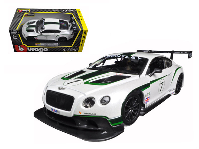 Bentley Continental GT3 White #7 1/24 Diecast Model Car by Bburago - BeTovi&co