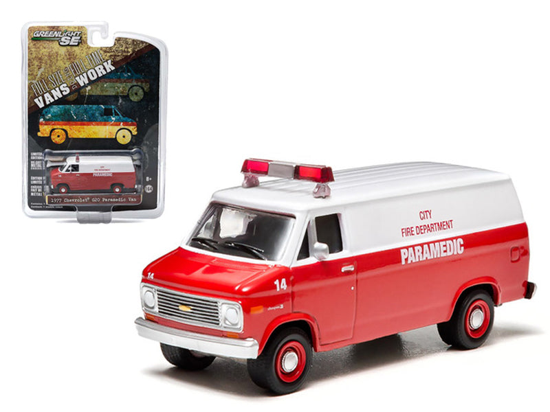 1977 Chevrolet G20 Van City Fire Department Hobby Exclusive 1/64 Diecast Car Model by Greenlight - BeTovi&co
