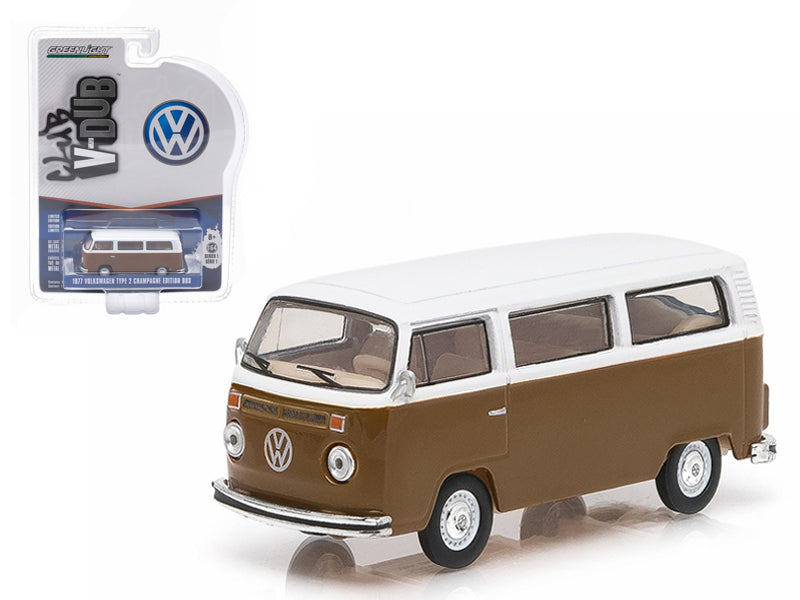 1977 Volkswagen Type 2 Bus Champagne Edition Agate Brown with Atlas White Series 1 Club V-Dub 1/64 Diecast Model Car by Greenlight - BeTovi&co