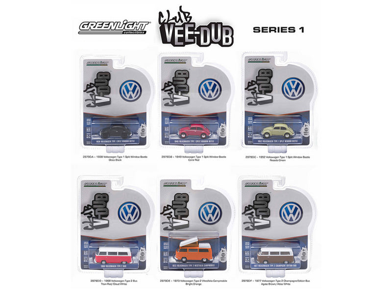Greenlight Vee Dub Series 1, 6pc Diecast Car Set 1/64 Diecast Model Car by Greenlight - BeTovi&co
