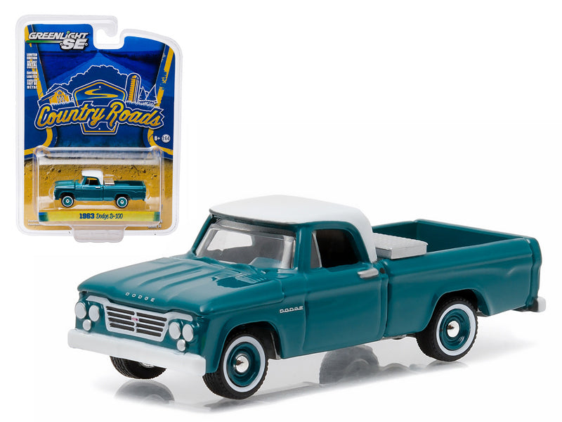 "1963 Dodge D-100 with Toolbox Pickup Truck \Country Roads"" Series 14 1/64 Diecast Model by Greenlight"" - BeTovi&co"
