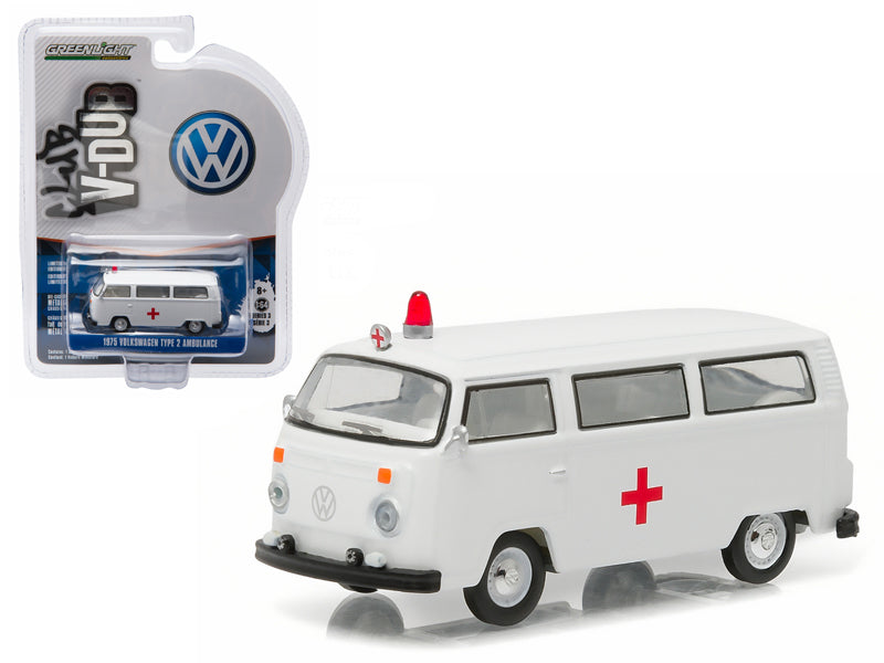 1975 Volkswagen Type 2 Bus (T2B) Ambulance with Roof Light and Siren 1/64 Diecast Model Car by Greenlight - BeTovi&co
