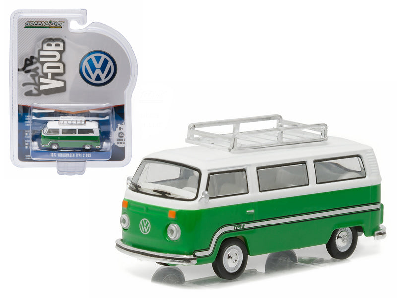 1977 Volkswagen Type 2 Bus (T2B) Sumatra Green with Roof Rack and Stripes 1/64 Diecast Model Car by Greenlight - BeTovi&co
