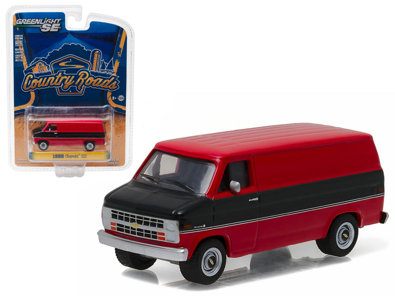 1986 Chevrolet G20 Van Black and Red 'Country Roads' Series 15 1/64 Diecast Model Car  by Greenlight - BeTovi&co