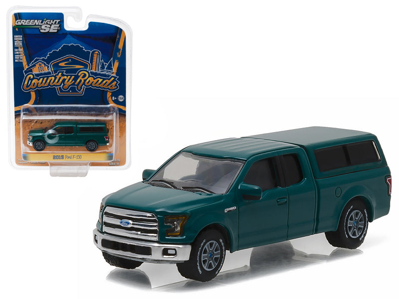 2015 Ford F-150 with Camper Shell Green Gem 'Country Roads' Series 15 1/64 Diecast Model Car  by Greenlight - BeTovi&co
