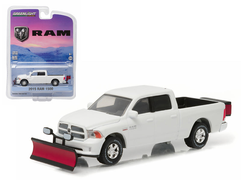2015 Dodge Ram 1500 Pickup Truck with Snow Plow and Salt Spreader 1/64 Diecast Model Car by Greenlight - BeTovi&co