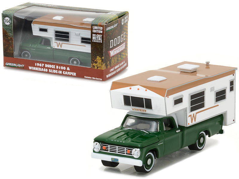 1967 Dodge D-100 Green with Winnebago Slide in Camper Hobby Exclusive 1/64 Diecast Model Car by Greenlight - BeTovi&co