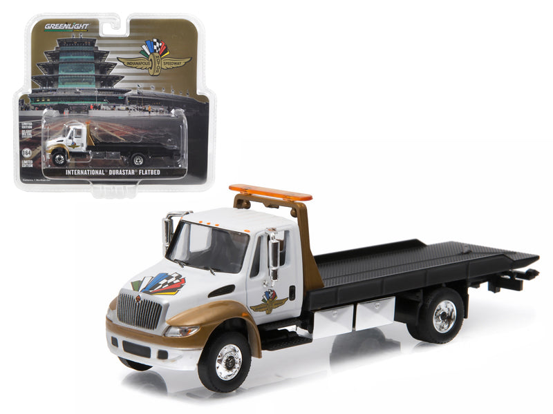 2016 International Durastar 4400 IMS Wheel, Wings, and Flag Flatbed Tow Truck White and Gold 1/64 Diecast Model by Greenlight - BeTovi&co