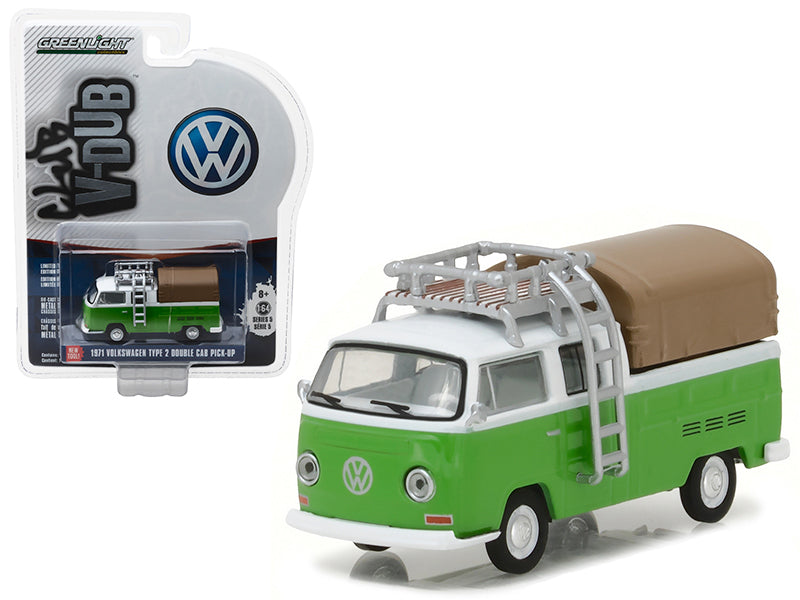 1971 Volkswagen Type 2 Double Cab Pickup with Roof Rack and Canopy Series 5 Club V-Dub 1/64 Diecast Model Car by Greenlight - BeTovi&co