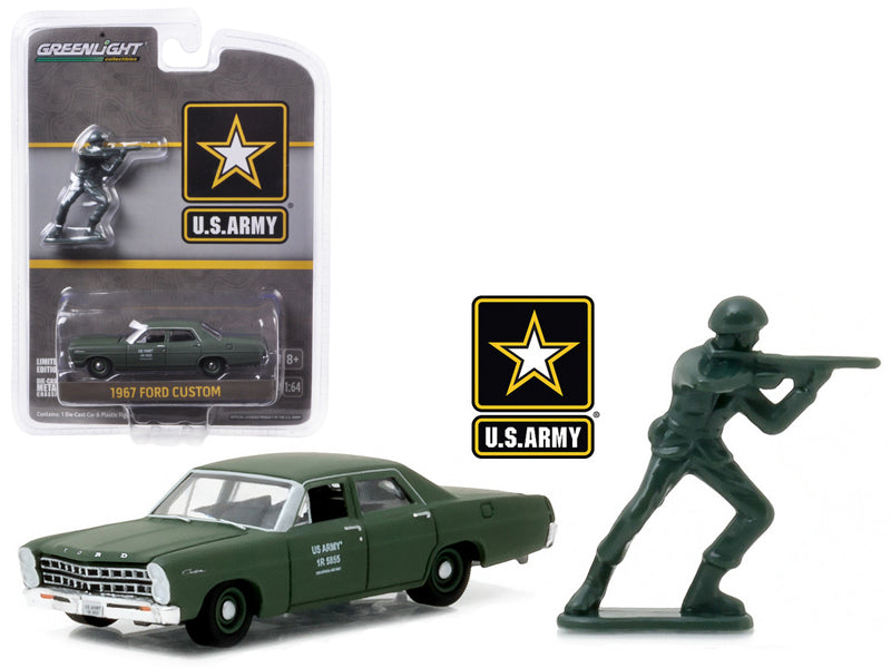 1967 Ford Custom U.S. Army with U.S. Army Soldier Figure 1/64 Diecast Model Car by Greenlight - BeTovi&co