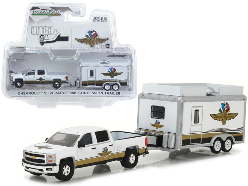 Chevrolet Silverado and Indianapolis Motor Speedway (IMS) Concession Trailer Hitch & Tow 1/64 Diecast Model Cars by Greenlight - BeTovi&co