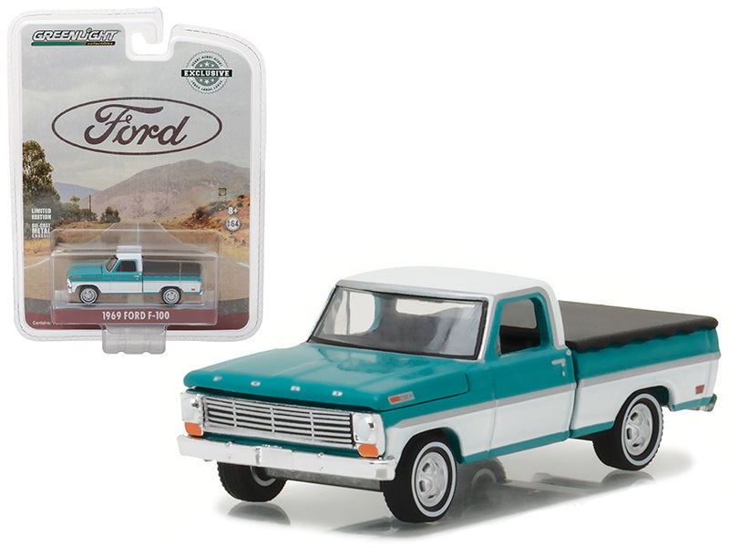 1969 Ford F-100 Pickup Truck Turquoise with Bed Cover Hobby Exclusive 1/64 Diecast Model Car by Greenlight - BeTovi&co