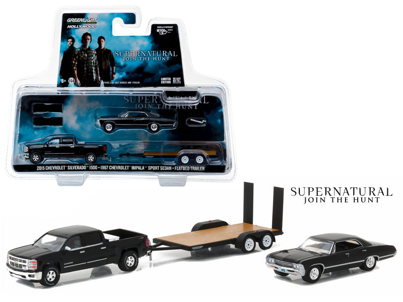2015 Chevrolet Silverado 1500 and 1967 Chevrolet Impala Sport Sedan on Flatbed Trailer 'Supernatural' TV Series (2005-Current) 1/64 Diecast Model Cars by Greenlight - BeTovi&co