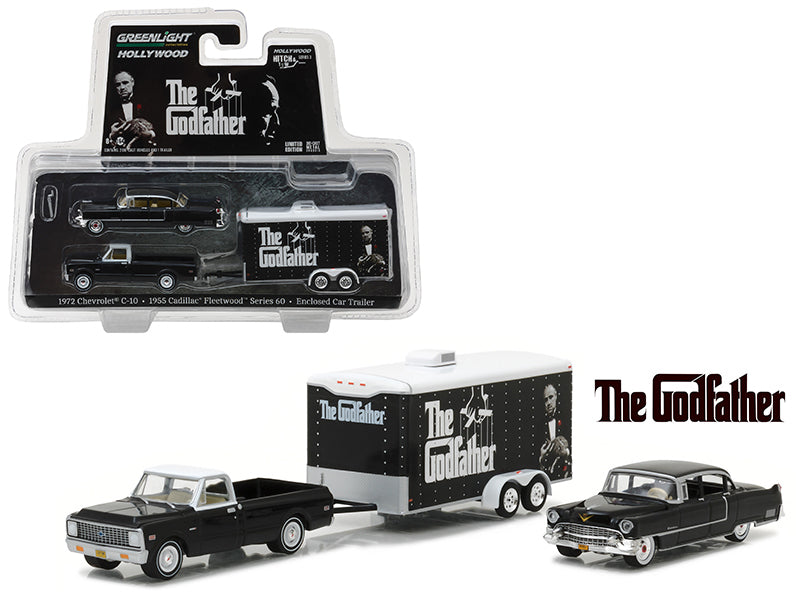 1972 Chevrolet C-10 with 1955 Cadillac Fleetwood Series 60 Special in Enclosed Car Trailer 'The Godfather' Movie (1972) Hollywood Hitch & Tow Series 3 1/64 Diecast Model Cars  by Greenlight - BeTovi&co