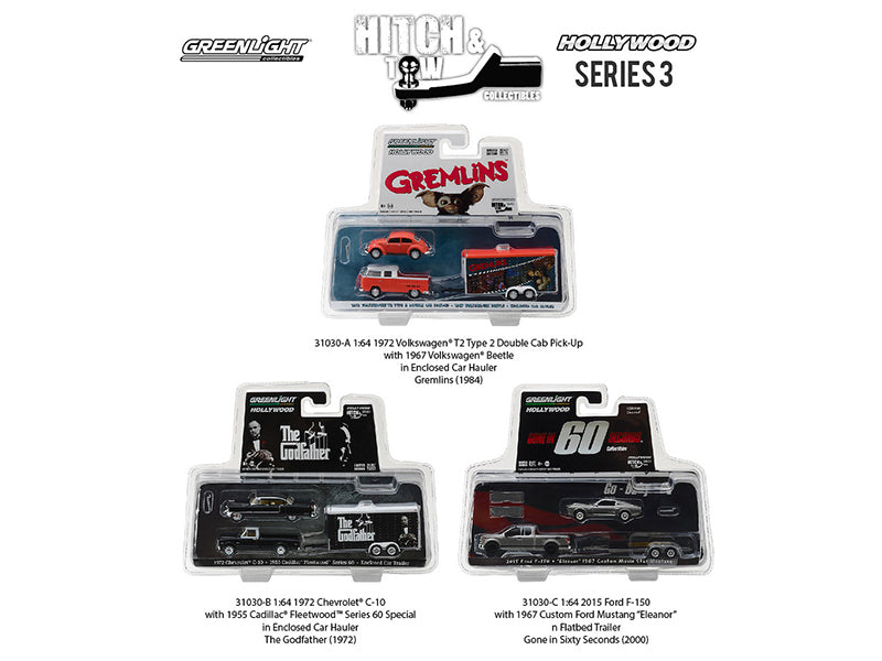 Hollywood Hitch & Tow Series 3 Set of 3 1/64 Diecast Model Cars by Greenlight - BeTovi&co